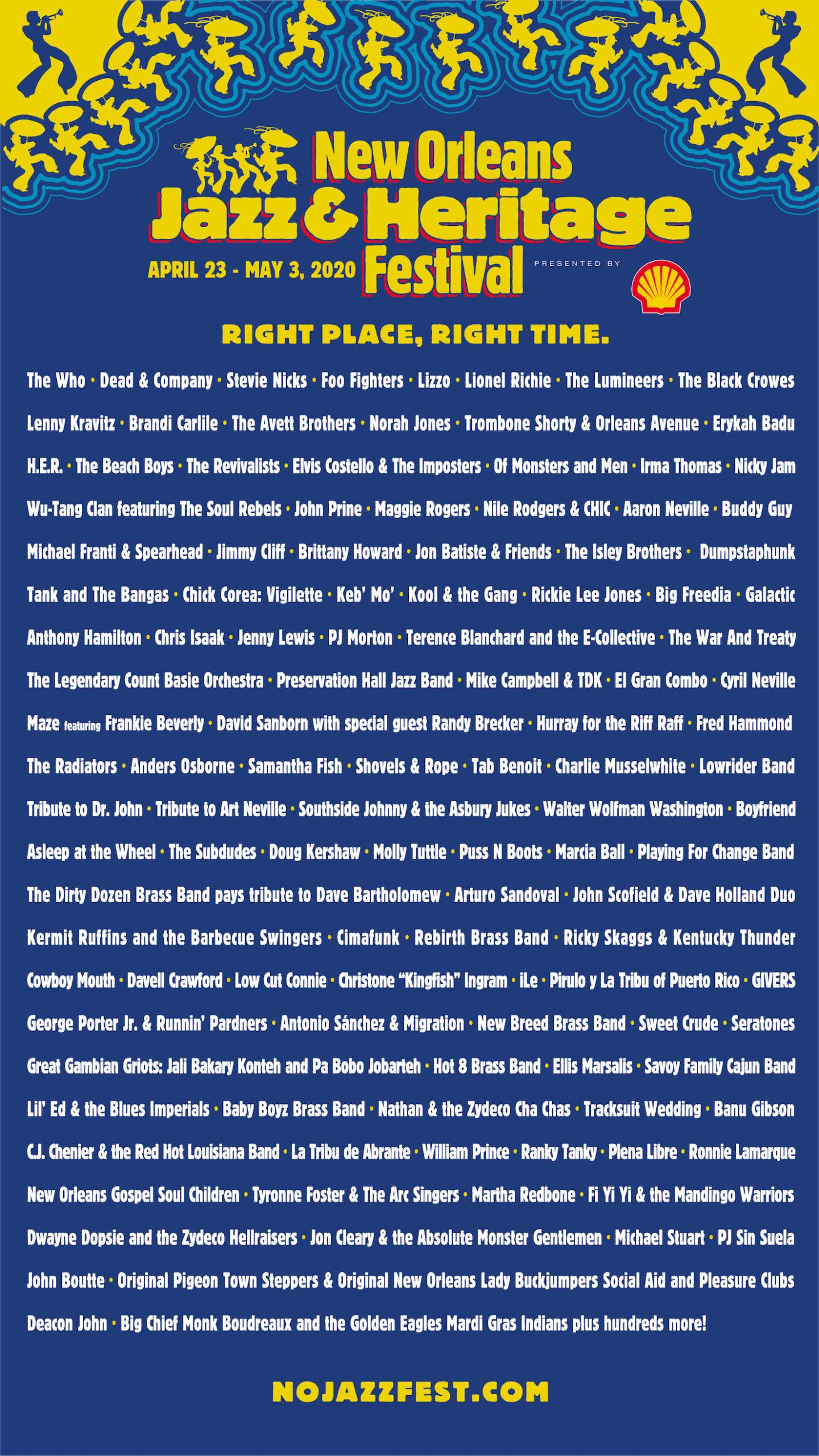 2020 Jazz Fest Lineup