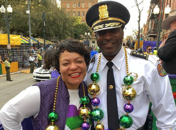 Mayor Cantrell and police office during Mardi Gras